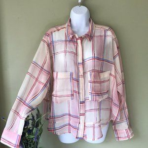 Anthropologie Holding Horses Plaid Button Front